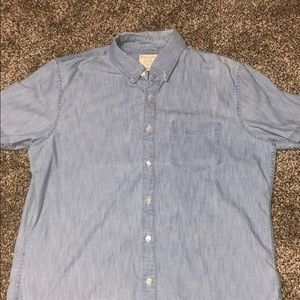 American Eagle Denim Short Sleeve Button Up